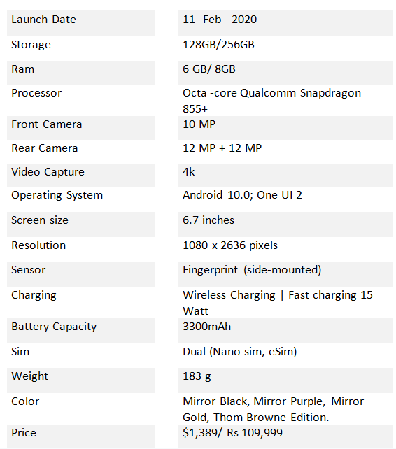 Samsung Galaxy Z flip specification