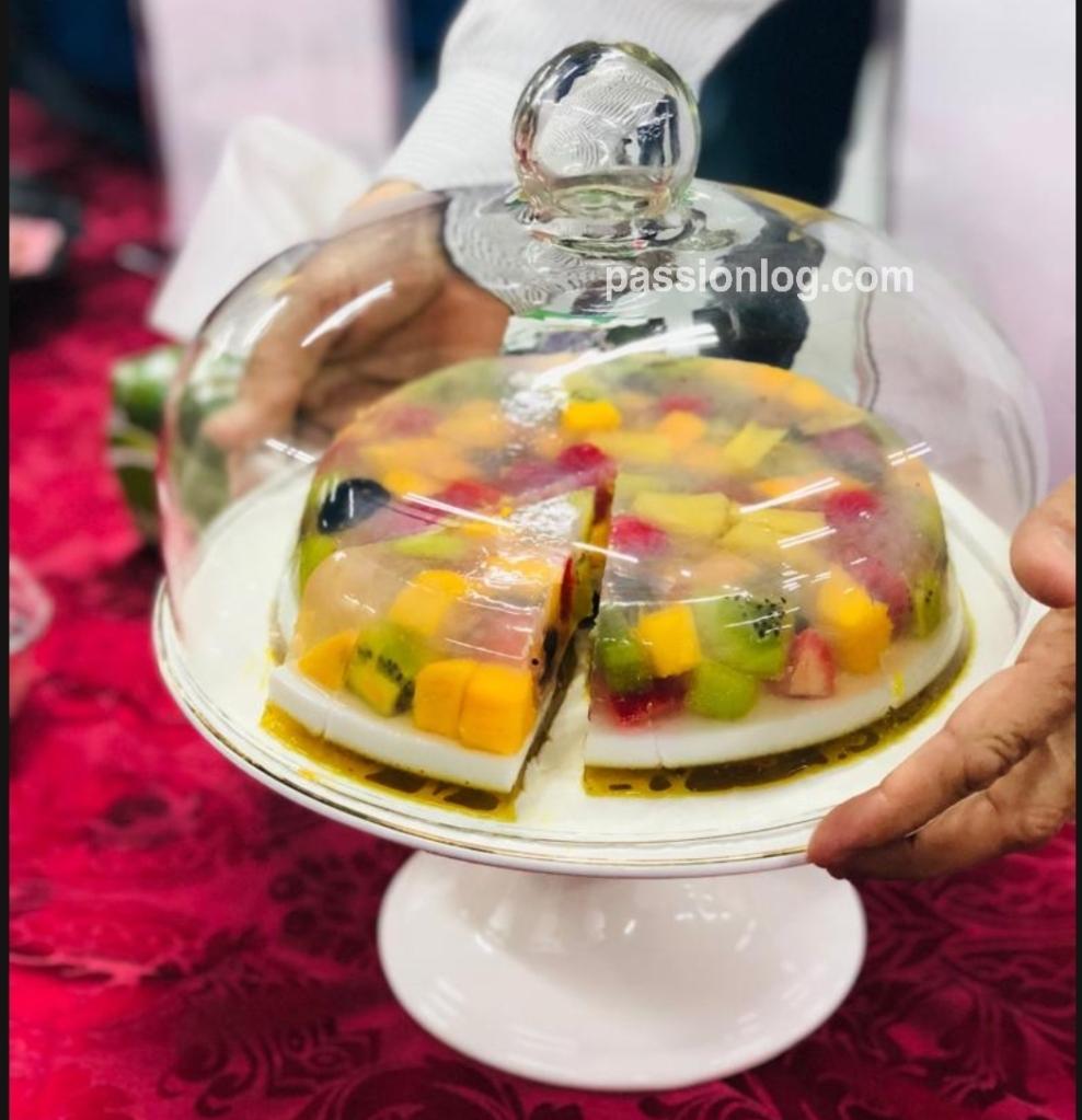 china grass fruit cake recipe , agar agar fruit cake, jelly fruit cake
